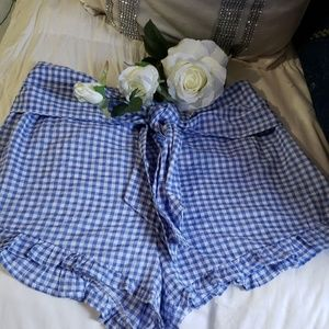 shorts wits ties blue white checked